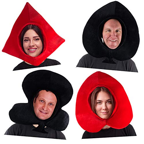 Tigerdoe Playing Cards Costume Hats - Poker Party Hats - Queen of Hearts - Novelty Hats - Deck of Cards Costume - 4 Pack ()