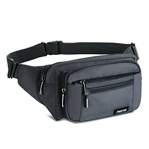FREETOO Waist Pack Bag Fanny Pack for Men&Women Hip Bum Bag with Adjustable Strap for Outdoors Workout Traveling Casual Running Hiking Cycling (Gray)