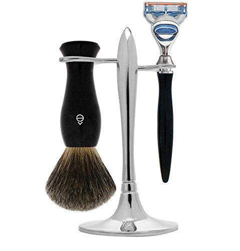 eShave Nickel Plated 5 Blade T Shave Set, Black