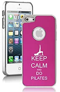 Apple iPhone 5 5s Aluminum Plated Chrome Hard Back Case Cover Keep Calm and Do Pilates (Hot Pink) by ruishername