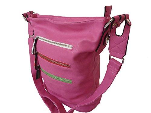 G&T KB243Z moderne Damen Umhängetasche in 9 Farben 35x35x15 (pink rose plum)