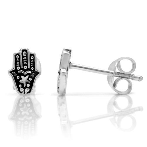 925 Oxidized Sterling Silver Tiny Hamsa Hand of Fatima 8 mm Stud Earrings (Super Best Friends Mohammed)