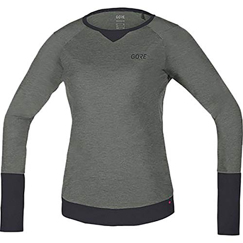 (GORE Wear Women's Breathable Long Sleeve Mountain Bike Jersey, GORE Wear C5 Women's Trail Long Sleeve Jersey, Size: XS, Color: Castor Gray/Terra Gray, 100215)