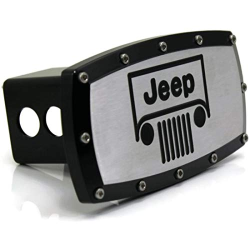 """Jeep Vehicle Logo 2"""" Tow Hitch Cover Plug Engraved Billet Black Powder Coated"""