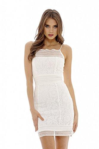 cream lace mini dresses - 9