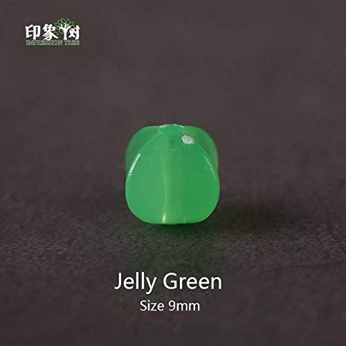 Calvas Multi Jelly Color 100pcs/LOT 88mm Cube Faceted Available Acrylic Loose Spacer Beads for Jewelry & DIY Craft Material 2216 - (Color: Jelly Green 100pcs) ()
