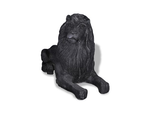 Facing Garden Accent - Amedeo Design ResinStone 1400-8B Library Lion, Right Facing, 52 by 21 by 32-Inch, Black