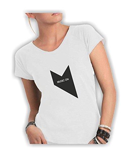 a Cotone Shirt Divertente Italy Scollo Vivo Donna Fiammato in On Ampio Taglio Music T Humor Bianco Made EqYxgHwTx