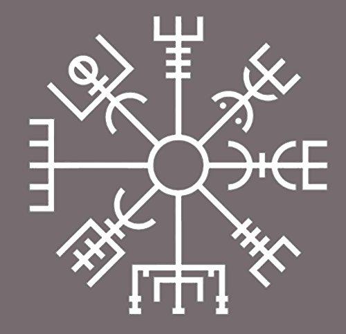 White Vegvísir Viking Compass Vinyl Static Cling - Viking Decoration - Vegvísir Rune Decor - Norse Scandinavian Gift