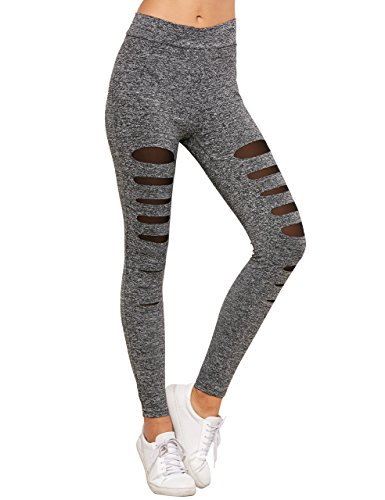SweatyRocks Legging Women Grey Knit Mesh Insert Ripped Tights Yoga Slim Pants (Ladies Mesh Knit Pant)