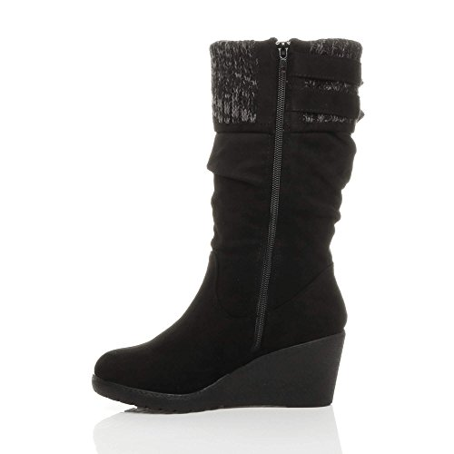 Calf Cuff mid Size Wedge Womens Heel Knitted Ladies Black Suede Contrast Zip Ajvani Boots Buckle 0Evxwq7x