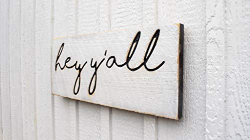 """Hey Y'all Sign - Carved in a 24""""x10"""" Solid Wood Board Rustic Distressed Farmhouse Style Southern Sayings Housewarming Gift"""
