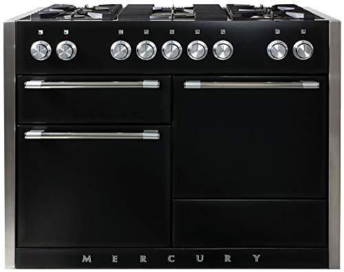 Aga Dual Fuel Range - AGA AMC48DF-BLK Mercury Series 48 Inch Wide 6 Cu. Ft. Slide In Dual Fuel Range with Glide Out Broiler System