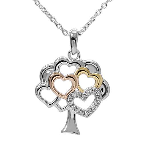 Hallmark Jewelry Sterling Silver Cubic Zirconia Tri Color Tree Heart Necklace, 18