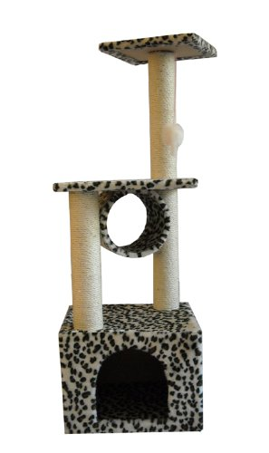 BestPet Cat Tree Condo Scratcher, 52-Inch, Beige