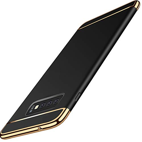 KUMTZO Compatible for Galaxy S10+ Plus Case,3 in 1 Ultra Thin Slim Hard Case Coated Non Slip Matte Surface Electroplate Frame Cover for Samsung Galaxy S10 Plus (2019 Release)_Black ()