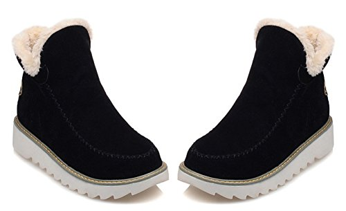 Aisun Womens Warm Non Slip Faux Fur Lined Round Toe Winter Booties Pull On Flat Ankle Snow Boots Shoes Black pgSdXBuDp
