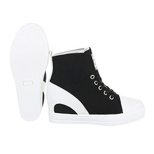 Ital-Design High-Top Sneaker Damenschuhe High-Top Keilabsatz/Wedge Sneakers Schnürsenkel Freizeitschuhe Schwarz