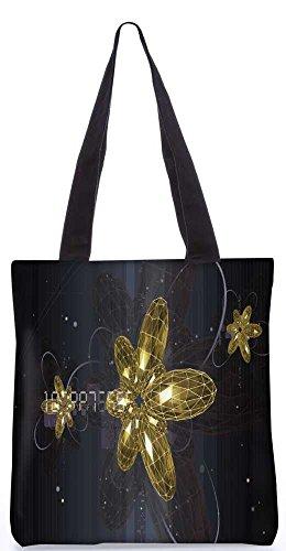 """Snoogg Goldene Blume Einkaufstasche 13,5 X 15 In """"Shopping - Dienstprogramm Tragetasche Aus Polyester Canvas"""