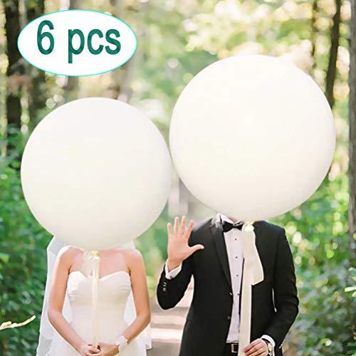 36 Latex Balloon White (Premium Helium Quality), Thicken Round Giant Balloons for Birthdays Festivals Wedding & Event Decorations (6 Pack)