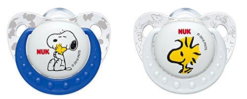 NUK 10176134 Die Peanuts Trendline Silikon-Schnuller, Größe 6-18 Monate, kiefergerechte  Form, BPA frei, 2 Stück, Boy