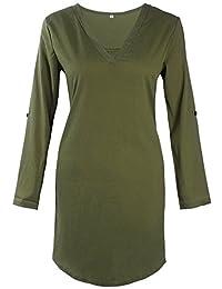 Bewish Womens Casual Chiffon Dress V-Neck Adjustable Sleeve Irregular Swing Dress
