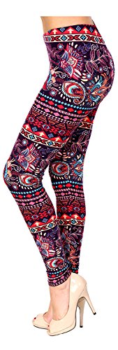 PLUS SIZE Printed Brushed Leggings (Flower Showroom)