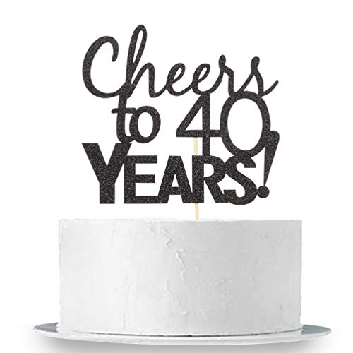40th Birthday Party Cakes - INNORU Cheers to 40 Years Cake Topper - Black Glitter 40th Birthday ,Wedding Anniversary Cake Bunting Party Decoration