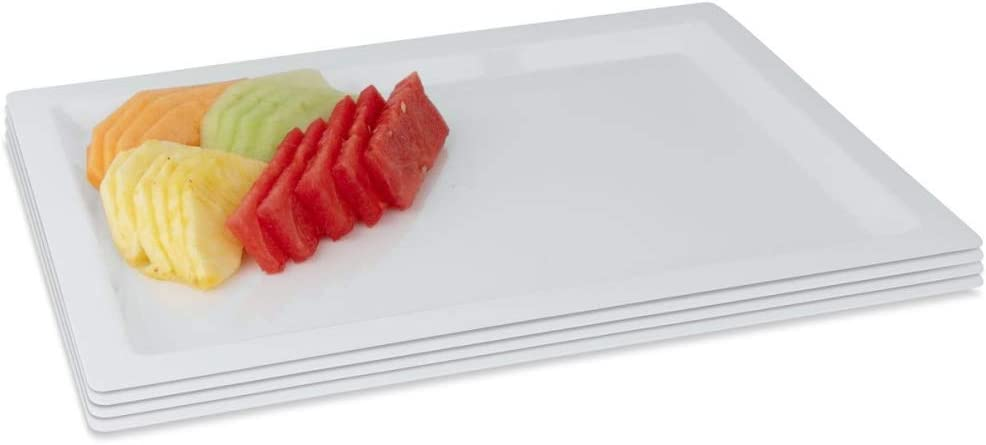 Party Bargains Rectangle Plastic Serving Tray & Durable White Disposable Trays | Excellent for Weddings, Buffets, Dinner, and Birthday Parties | 18 x 12 inches (4 Pack)