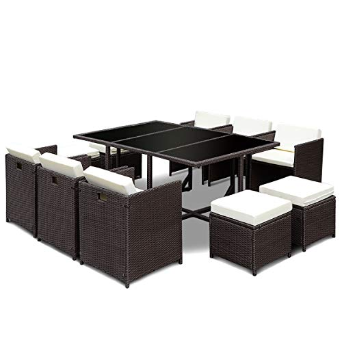 Tangkula Patio Furniture Outdoor Wicker Rattan Dining Set Cushioned Seat Garden Sectional Conversation Sofa with Glass Top Coffee Table (11pcs) ()