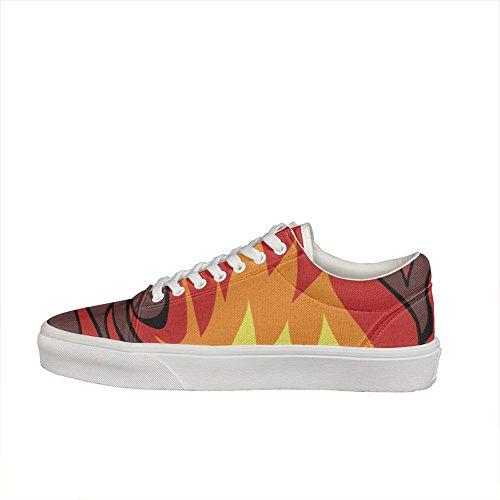 Skateboard Costume Ideas (Seamless Fire Flame-01 Women Casual sneakers shoes Skateboard cool Fashion cute gift)