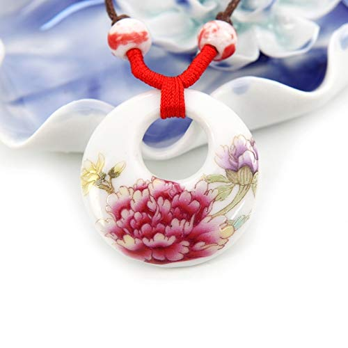 jingdezhen Ceramic Jewelry Necklace Pendant Women Girls Sweater Chain National Blue White Porcelain Ornaments Handmade Products (Aromatic - Womens Pendant Porcelain