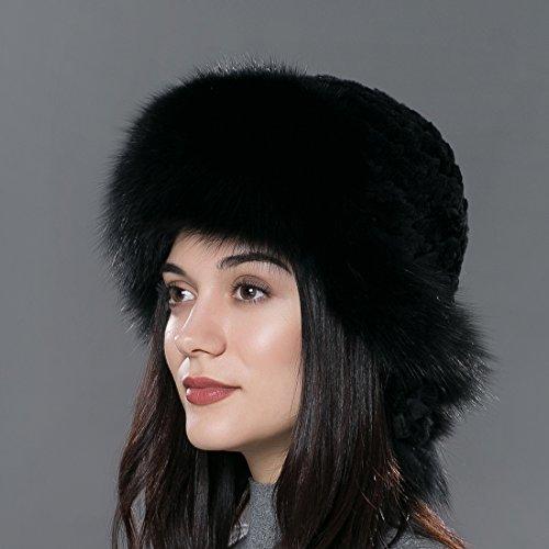 URSFUR Winter Fur Bomber Hat Rex Rabbit Fur Russian Cap with Fox Fur Trim