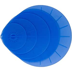 Blue Silicone Lid Covers Set - 5 Reusable Flat Covers For Food, Bowls, Pans, Cups, Pots And More – Includes large almost 14"