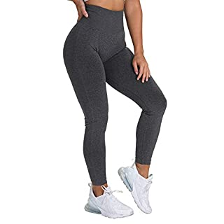 NanaDay Yoga High Waisted Pants for Women Fitness Legging Gym Workout Tights Seamless Skinny Pants (BK-M) Black
