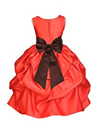 ekidsbridal Red Satin Bubble Pick-Up Toddler Flower Girl Dress Graduation Dress 208T