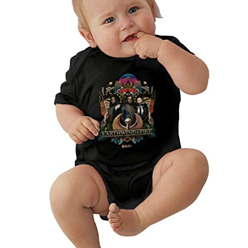 Earth Wind & Fire Unisex Baby Boy Girl Bodysuits Short Sleeve Infant Cotton Clothes for 0-24 Month 18M Black]()
