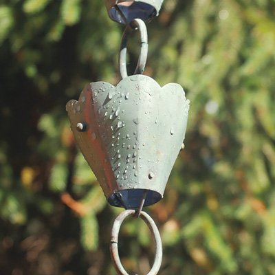 Good Directions 13 Cup Tulip Pure Blue Verde Copper 8.5-Foot Rain Chain (Good Directions Tulip)