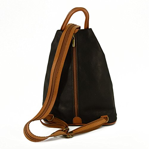 1af9c53425f29 ... Damen Leder Rucksack Farbe Schwarz Cognac - Italienische Lederwaren -  Rucksack ...