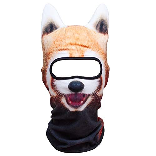 WTACTFUL 3D Animal Ears Fleece Thermal Hood Balaclava Neck Warmer Face Mask for Cold Weather Winter Outdoor Sport Motorcycle Cycling Riding Ski Snowboard Halloween Party Funny Red Panda - Kids Shape Snow Ski