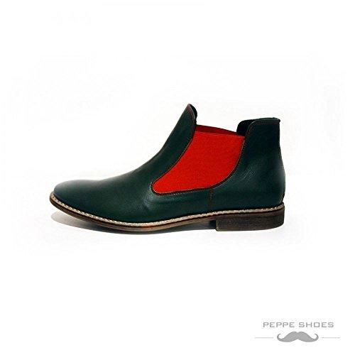 Modello Garda - Cuero Italiano Hecho A Mano Hombre Piel Verde Chelsea Botas Botines - Cuero Cuero suave - Ponerse
