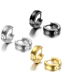 JewelryWe 2PCS Men Women Stainless Steel Classic Plain Cambered Stud Huggie Hoop Earrings Set(Colors Available) Christmas Decorations Ornaments Gifts