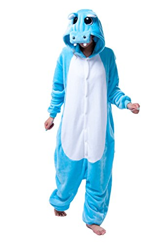 60's Costume Hire (FashionFits Unisex Pajama Blue Hippo Cosplay Pyjama Party Jumpsuit One Piece S)