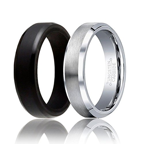 - SOLEED Twins - Set of 2-1 Silver Tungsten Wedding Band and 1 Black Silicone Rubber Wedding Ring for Men, 6mm, Beveled Edges, Brushed Top, Size 7