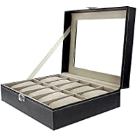 """Juvale Black Leather Watch Box Case - Fits 10 Watches - 10"""" x 8"""" x 3.25"""""""