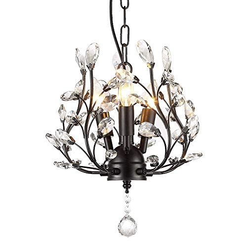 Garwarm 3-Light Crystal Chandeliers,Ceiling Lights,Crystal Pendant Lighting,Ceiling Light Fixtures for Living Room Bedroom Restaurant Porch (Black)