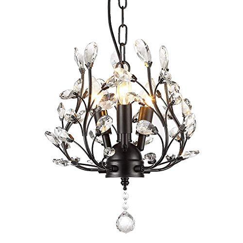Garwarm 3-Light Crystal Chandeliers,Ceiling Lights,Crystal Pendant Lighting,Ceiling Light Fixtures for Living Room Bedroom Restaurant Porch (Black) (Leaf Chandelier)