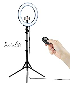 socialite 18 led dimmable photo video ring light kit incl professional social. Black Bedroom Furniture Sets. Home Design Ideas
