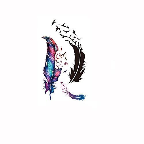 Anself Motif Body Fashion Tattoo Art Stickers Sticker Oiseaux Furs papier imperméable tatouage temporaire