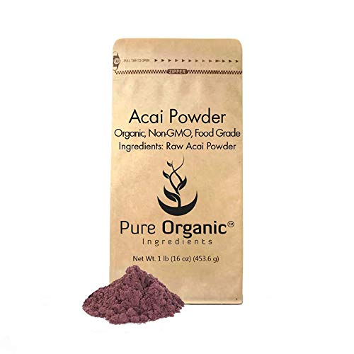 Acai Berry Powder (1 lb.) by Pure Organic Ingredients, Superfood, Freeze-Dried for Maximum Nutrient Retention, Vegan, Non-GMO, GLUTEN-FREE